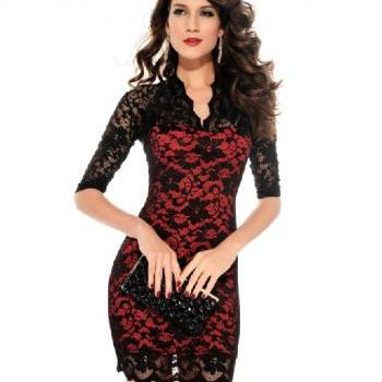 Fashion Ladies' Sexy Slim Flower V-Neck Middle 3/4 Sleeve Women's party evening elegant Mini Lace Dress for women