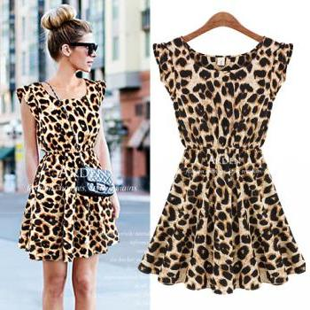 New Spring 2014 new Women Casual dress Leopard Print Milk Silk Microfiber Summer Dress Women Ruffles Dresses