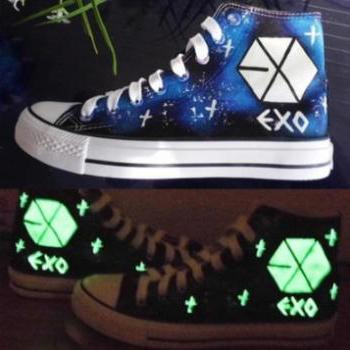 2014 Fashion Unisex Glow in the Dark Exo Canvas Shoes Sneakers
