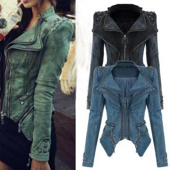 Fashion Sharp Power Studded Shoulder Notched Lapel Denim Jeans Tuxedo Coat Blazer Jacket