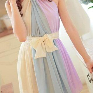 Color Block Belted Bow Sleeveless Pleated Halter Dress