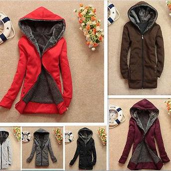 Women's Thick Wool Liner Plus Velvet Hooded Sweater Loose Coat