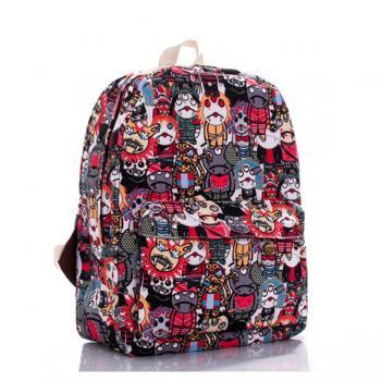 Cartoon Zombie Printed Backpack In Red 0627026