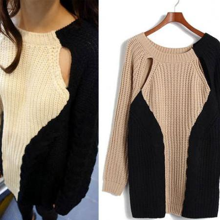 New Personalized Nice Geometric Stitching Mosaic Sweater &Cardigan