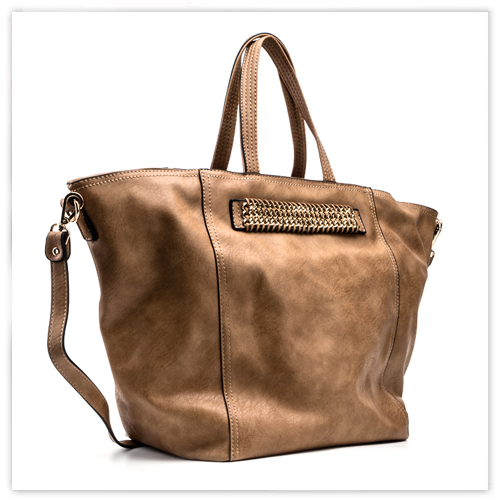 Beige Brown Leather Tote Handbag. Large Brown Handbag. Large Shopper. Travel Bag. Laptop Bag. Fall-Winter 2014/2015.