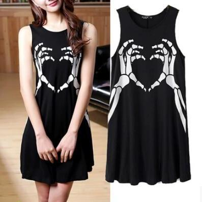 Skeleton Hands Print Shift Dress