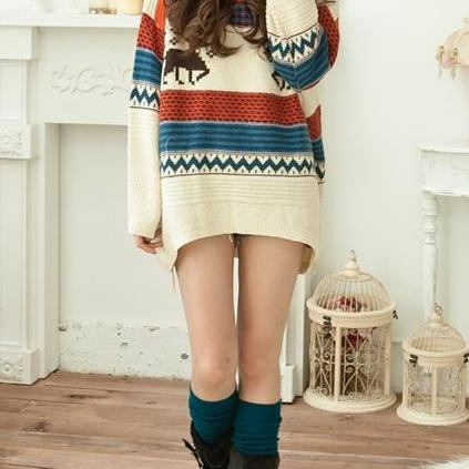 Deer Pattern Colored Loose Jumper