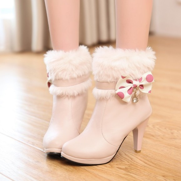Winter Round Toe Bow Tie Decorated Slip On Stiletto Super High Heel Pink PU Short Riding Boots