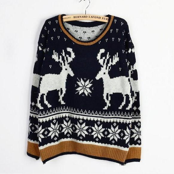 Christmas Moose Elk Sweater Soft Comfortable Black And Gray Sweaters 8C1SLZNKQIK0IW9B1LW8M A884S5Z7KKV