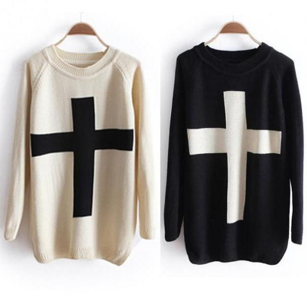 Cross Sweater Loose Sweater A 071005 UUKMSKXE76M0TMZYPQ77R UWUHEVD3V76