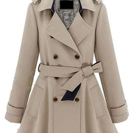 Charming Double Breasted Belt Design Trench Coat - Khaki