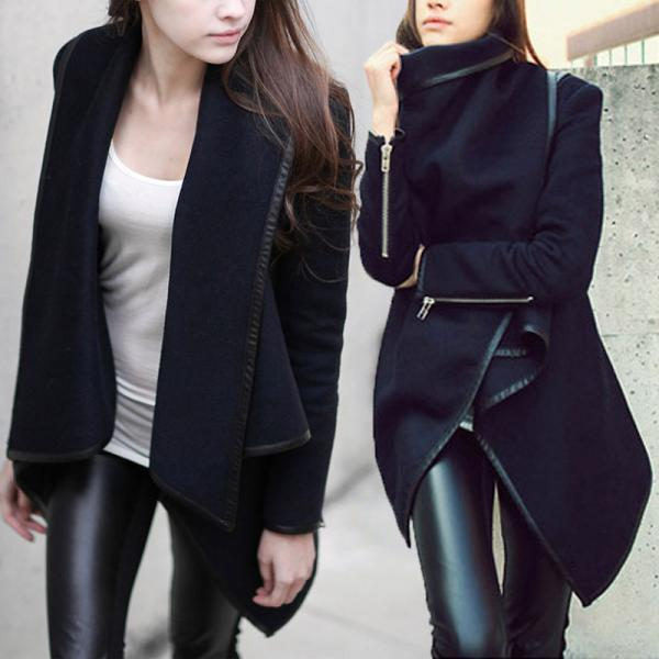 Fashion Women/'s Coat Windbreaker Outwear Warm Wool Slim Long Jacket Trench Parka