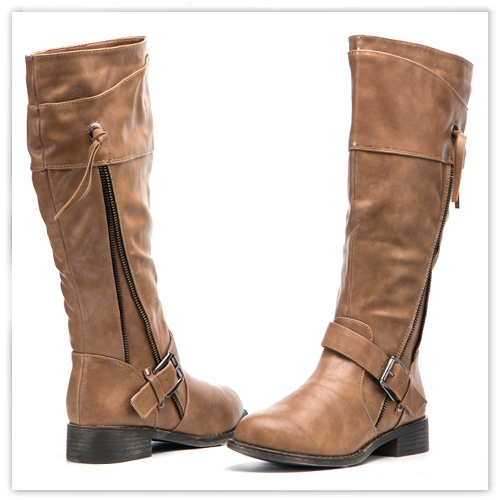 Beige Boots Pu Leather Boots Flat Sole Boots Buckle Boots