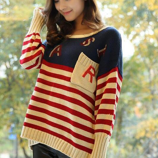 Women'S Striped Pocket Beige Pullover Casual Long Sleeve Sweater
