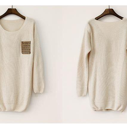 Beige Patchwork Leather Alphabet Pocket Loose Sweater