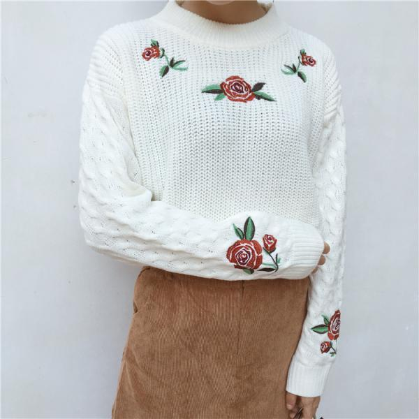 Rose Embroidered Cable Knitted Mock Neck Sweater